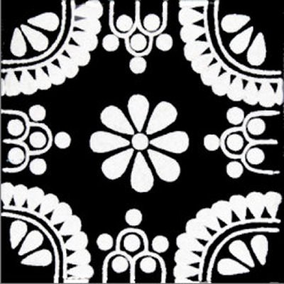 Amazoncom X Pcs WhiteBlack Madrid Talavera Mexican Tile - Black and white talavera tile
