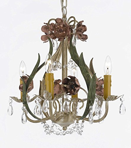 Floral Wrought Iron and Crystal 4 Light Chandelier Pendant (Crystal Floral Chandelier)