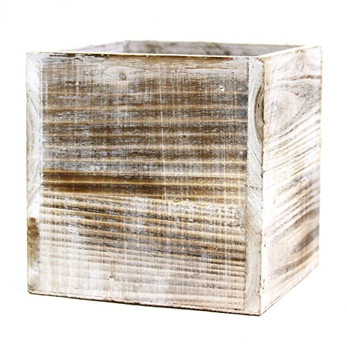 - Koyal Wholesale Square Cube Shabby Chic Wood Vase 5