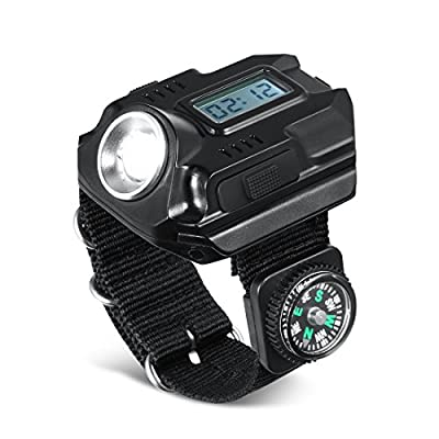 Night Eyes-Powerful Bright Wrist LED Light USB Rechargeable Waterproof LED Flashlight Wristlight Watch with Compass, Best for Running Biking Mountain Climbing Camping Hiking Patrol Hunting