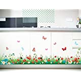 Green Grass Meadow Wall Art Stickers Colourful Flowers & Butterflies Removable DIY Vinyl Wall Decal Multicoloured Decorative Mural Living Room, Children's Bedroom, Baseboard