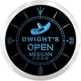 ncx0258-tm Dwight's Mexican Food Open Custom Name Neon Sign Clock