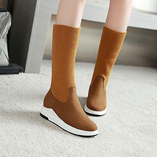 Wool Winter KHSKX Wind Yards Forty Wearing Women And The Short Big Cotton Two British Boots Thick one Yellow Boots Soles Turn Of Knitted zIdqRwrdx