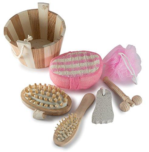 Wooden Spa Sauna 7 Piece Set Gift Basket - Perfect Home Spa, Sauna & Treatment Set for Women, Best Bath & Body Gift Ideas for Her