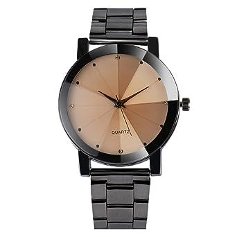 Unisexe Acier Inox Convexe Cadran De Poignet En Cuir Quartz Horloge Ronde  Montre (4 cm b4dad573ea4