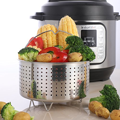Aozita Steamer Basket for Instant Pot Accessories 3 Qt - Stainless Steel Steam Insert with Premium Handle for 3 Quart Pressure Cookers - Vegetables, Eggs, Meats, etc by Aozita (Image #1)