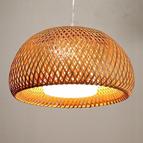 Alabaster Glass Complete Light (Self-My Ceiling Lamp Retro Creative Personality Bamboo Woven Lantern Restaurant Cafe Corridor Diameter 30Cm High-17Cm Chandelier)