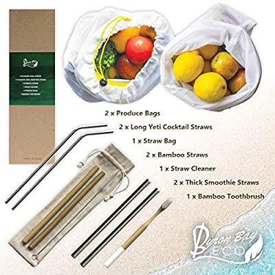 Eco Friendly Set 11-piece Reusable Straws 2 Stainless Steel Straws For Yeti Tumbler 2 Mesh Bag 2 Natural Bamboo straws 2 Smoothie Metal Straws 1 Bamboo Toothbrush 1 Straw Cleaner 1 Straw Bag