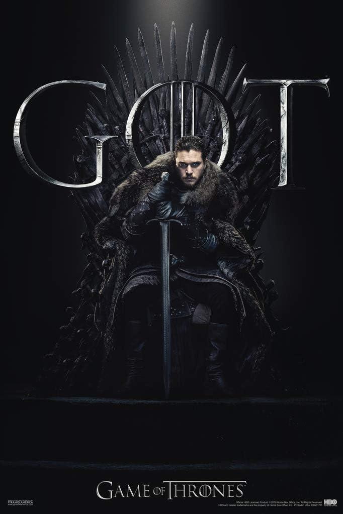 Pyramid America Game of Thrones Jon Snow Iron Throne Season 8 Cool Wall Decor Art Print Poster 12x18