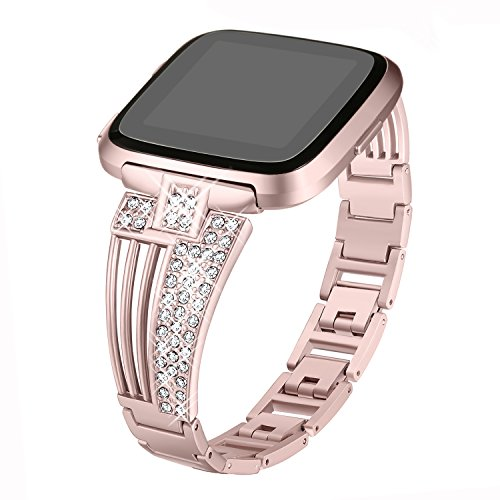 bayite Metal Bands Compatible Fitbit Versa Watch, Bling Bracelets with Rhinestones Woman Girls, Rose Gold