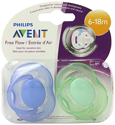 Philips AVENT sans BPA Freeflow Pacifier, 6-18 mois, 2-Pack, les couleurs peuvent varier