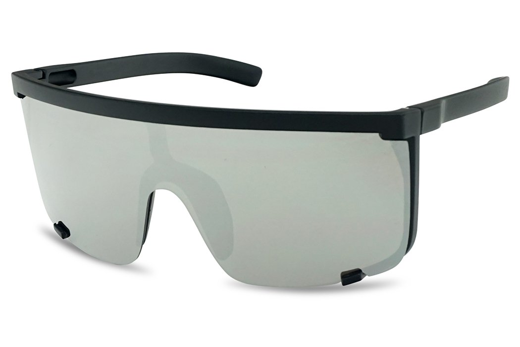 SunglassUP Oversized 150mm Super Shield Mirrored Lens Sunglasses Retro Flat Top Matte Black Frame (Matte Black Frame | Silver) by SunglassUP