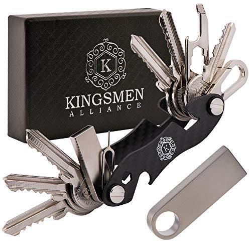 (KINGSMEN Smart Compact Key Holder Organizer-Pocket Carbon Fiber Keychain, Stainless Steel Accessories, Light, Strong & Durable, Max 25 Keys, With 16GB USB, Bottle Opener, Metal Hook, Loop Ring (Black))
