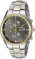 Seiko Men's SSC392 Titanium Solar Chrono Analog Display Japanese Quartz Two Tone Watch