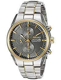 Seiko Men's SSC392 Titanium Solar Chrono Analog Display Japanese Quartz Two Tone Watch