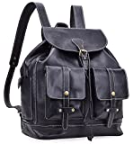 ALTOSY Genuine Leather Backpack Purse Fashion Bag Casual Daypack 6926 (black)