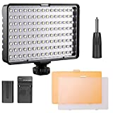 LED Video Light Panel Kit, FOSITAN TL-160S Ultra Bright 160 LED 11W 960LM 3200K/5500K Camera Light Panel Kit including Rechargeable Battery Hand Grip 2 Filters for SLR Camera Camcorder
