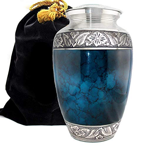 Moonstone Blue - Funeral, Burial, Niche Or Columbarium Adult Cremation Urn for Human Ashes - 100% Brass- Adult, Large (Moonstone Blue, Large)
