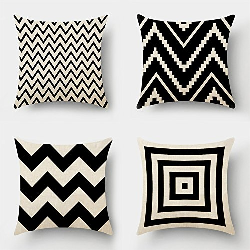 MIULEE Pack of 4 Decorative Black Wave Outdoor Pillow Cover Geometric Style Durable Cotton Linen Burlap Square Throw Cushion Cover Cushion Case for Sofa Bedroom Car 18 x 18 Inch 45 x 45 cm