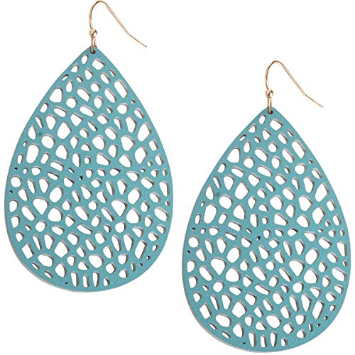 Humble Chic Vegan Leather Earrings for Women - Teardrop Leaf Dangle Statement Filigree Dangling Lightweight Boho Vintage-Style Drops, Aqua Teardrop, Light Blue, Mint, Gold-Tone
