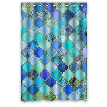 Beautiful Girls Shower Curtain   Best Designed Blue, Aqua Moroccan Trellis  Floral Bathroom Shower Curtains