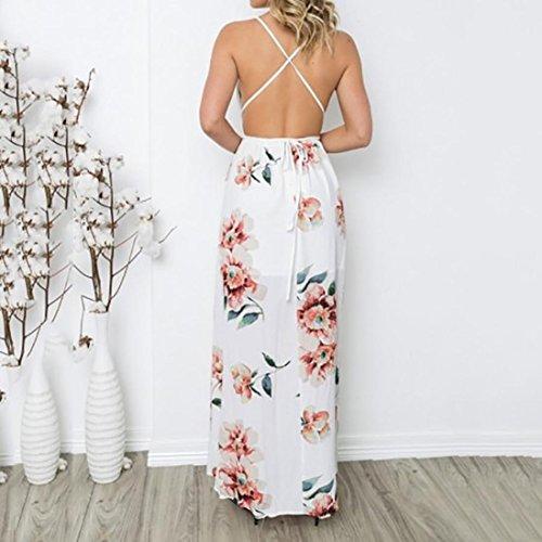 Floral Largo Verano Noche sin de Blanco Boho la Maxi Mujeres de la del Manera Vestido de 2 Fiesta SHOBDW Impresión Las Mangas Gasa de Playa q5Ot6BWZ