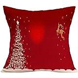 レンコス(Lemcos) クッションカバー クリスマス用 亜麻 装飾枕ケース シンプル 節日 クリスマス雰囲気 部屋飾り 贈り物 45cm*45cm