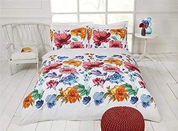 Möbel & Wohnen Schmetterlinge Blumen Blumenmuster Rot Blau Weiss Baumwollmischung