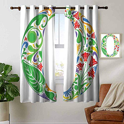 petpany Bedroom Curtains 2 Panel Sets Letter O,Floral Font O Circle with Colorful Jungle Flowers and Big Leaves Vintage Natural,Multicolor,Complete Darkness, Noise Reducing Curtain 42
