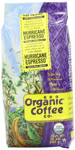The Organic Coffee Co. Whole Bean, Hurricane Espresso, 12 Ounce (Pack of (Victor Green Tea)