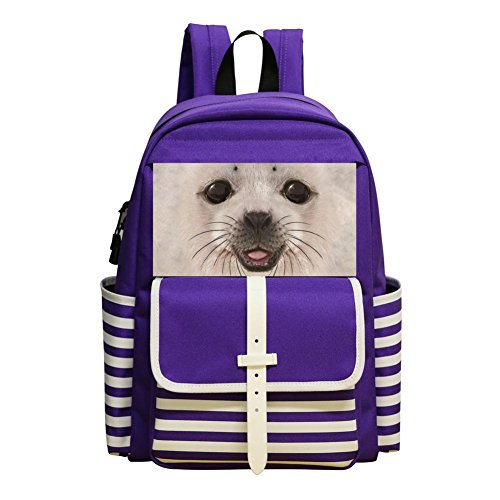 - Big Face Baby Seal Student Backpack School Bag Print Boys&Girls Super Bookbag Break