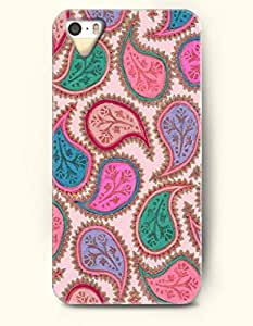 SevenArc Apple iPhone 5 5S Case Paisley Pattern ( Plum Pink Green and Blue Paisley Tears ) by icecream design