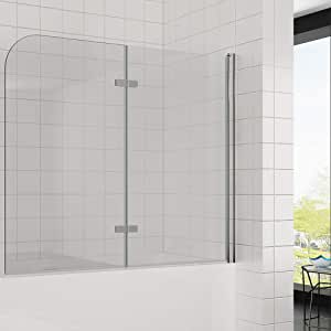 Mampara 120 x 140 cm 2 piezas plegable Mampara de bañera ducha pared plegable pared plegable: Amazon.es: Hogar