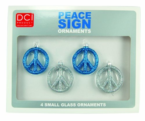 DCI Gifts Glittering Peace Sign Ornaments - Blue/Silver -