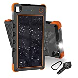 note 4 solar panel - [Quick Charge] 13500mAh Solar Charger, Hobest Portable Charger with Dual Output Type C & Micro USB, IP67 Waterproof Outdoor Solar Power Bank with Flashlight & Whistle Compass (Orange)