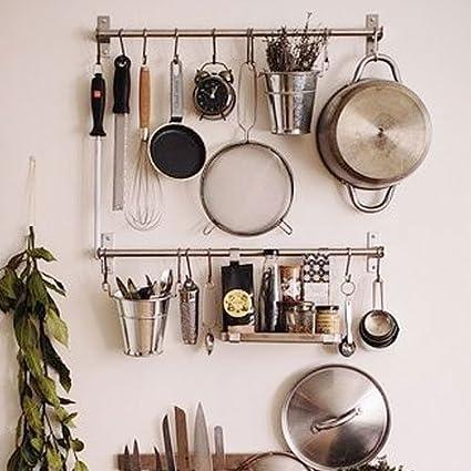 Ikea Stainless Steel Gourmet Kitchen Wall Rail and 10 Large S Hooks Set  Utensil Pot Pan Lid Rack Storage Organizer