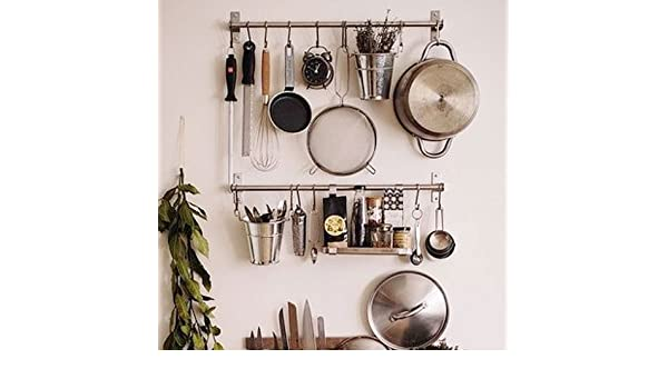 IKEA juego de barra y 10 tamaño grande S ganchos de pared de cocina Gourmet de acero inoxidable utensilios de cocina Pot Pan Tapa De Almacenamiento ...