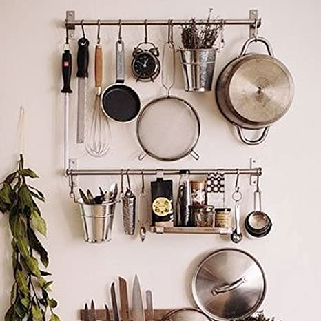 Ikea Stainless Steel Gourmet Kitchen Wall Rail And 10 Large S Hooks Set  Utensil Pot Pan