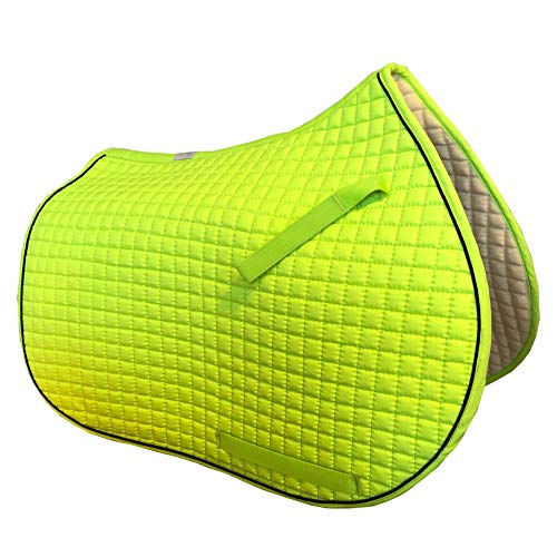 PRI Pacific Rim International All-Purpose English Saddle Pads for Horses (NEON Lemon-Lime w/Black Piping)