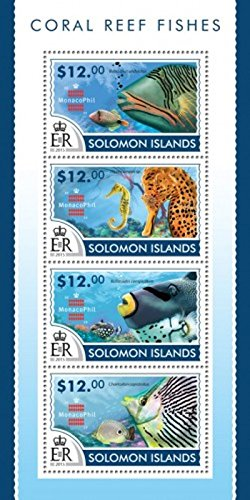 (Withdrew 02-28-19-Solomon Islands - 2015 Coral Reef Fishes - 4 Stamp Sheet - 19M-753)