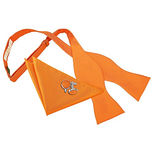 Bow Hanky Orange DQT Tie Men Plain Cufflinks Tie Celosia Self Check Solid wRwAO