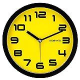 DecoMates Non-Ticking Silent Wall Clock, Color Block, Yellow Bumblebee