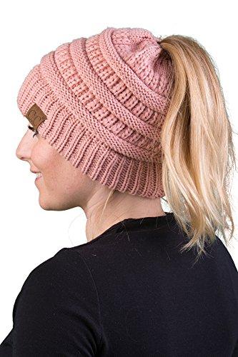 BT-6020a-71 Messy Bun Womens Winter Knit Hat Beanie Tail - Indi Pink