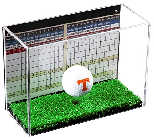 - Deluxe Clear Acrylic Single Golf Ball Display Case Black Back Turf Floor (A045-TB)