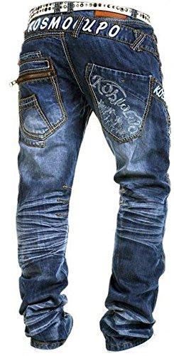 Kosmo Lupo K&M 322A Designer Herren Jeans Hose Clubwear Style Blau Verwaschen W29-W38 / L32-L34