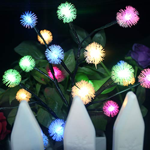 Solar Power Tree Light Colorful Light Garden Outdoor Yard Lawn seenlast Landscape Lamp Perfect for Home Festival Party Wedding Christmas Indoor Outdoor Decoration 2 Set (Snowflake)