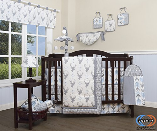 GEENNY 13 Piece Boutique Baby Nursery Crib Bedding Set, Woodland Deer Arrow, Multi-Colors, Crib from GEENNY