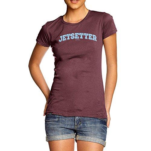 (TWISTED ENVY Funny T Shirts for Women Jetsetter Medium Burgundy)
