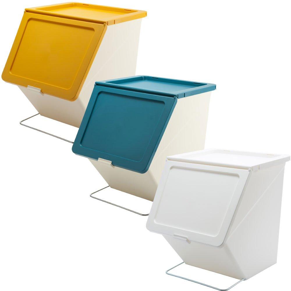 スタックストー ペリカン ガービー 38L 全6色の中から選べる3個セット ゴミ箱 ごみ箱 ダストボックス おしゃれ ふた付き stacksto pelican (イエロー×ブルー×ホワイト) B0759PLZX5 イエロー×ブルー×ホワイト イエロー×ブルー×ホワイト