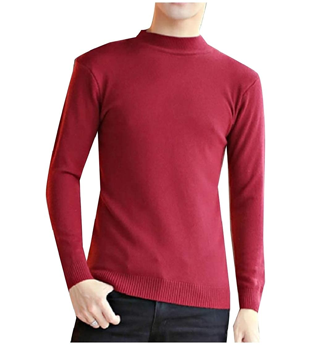 YUNY Men Turtleneck Pure Color Long-Sleeve Pullover Knitted Sweater Wine Red S